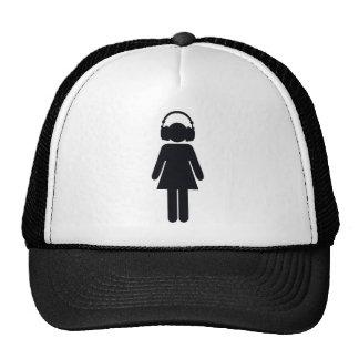 Girl with headphones mesh hat