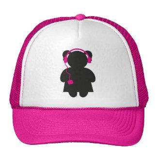 Girl with Headphones Pink Trucker Hat