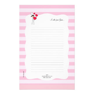 Girl with Hearts Motif - Customised Stationery