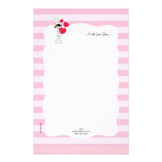 Girl with Hearts Motif - Stationery Design