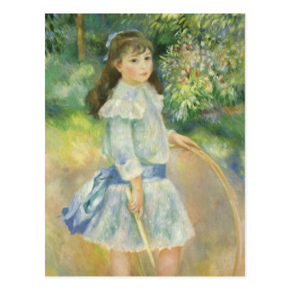 Girl with Hoop by Pierre Renoir, Vintage Fine Art Postcard