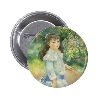 Girl with Hoop, Renoir, Vintage Impressionism Art 6 Cm Round Badge