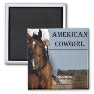 """Girl With Horse """"American Cowgirl"""" Square Magnet."""" Square Magnet"""