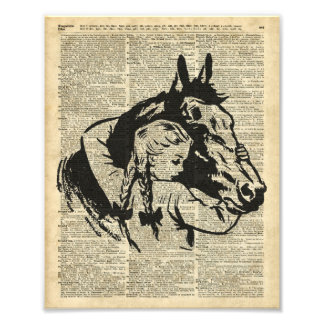 Girl With Horse,old dictionary page,Horse riding Photo