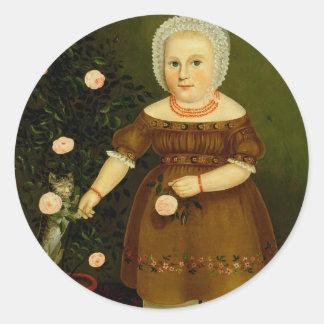 Girl with Kitten American Victorian Folk Art Classic Round Sticker