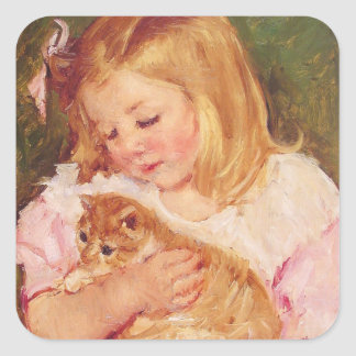 Girl with Kitten, Mary Cassatt Square Sticker