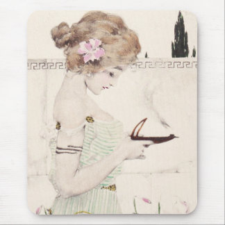 Girl with Lamp Art Nouveau Mouse Pad