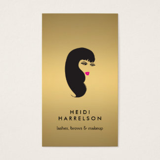 Girl with Lashes on Faux Gold Beauty II Business Card
