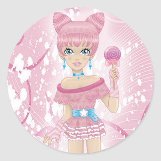 Girl with lollipop classic round sticker