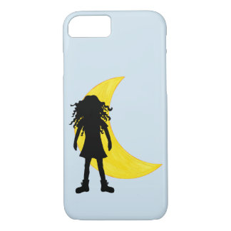 Girl with long curly hair and the Moon iPhone 8/7 Case