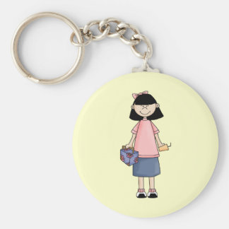 Girl With Lunchbox Basic Round Button Key Ring