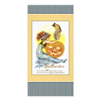 Girl with mirror, pumpkin and owl photo greeting card