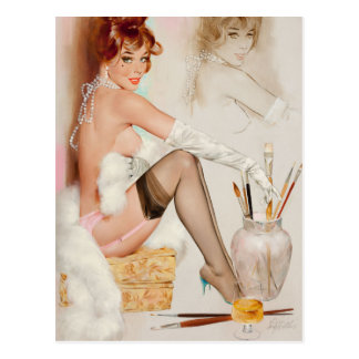 Girl with Painting Pin Up Art Postcard