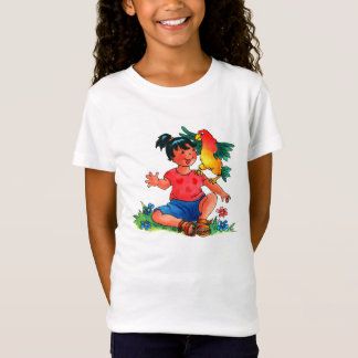 Girl with Parrot Kids T-Shirt