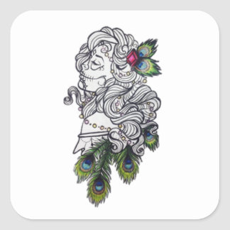girl with peacock feathers square sticker