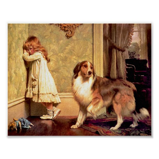 """Girl with Pet Sheltie: """"A Special Pleader"""" Poster"""
