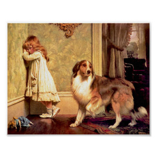 Girl with Pet Sheltie A Special Pleader Print