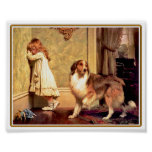 Girl with Pet Sheltie Poster
