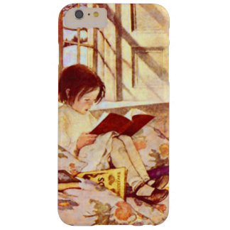 Girl with Picture Books Vintage Illustration Barely There iPhone 6 Plus Case
