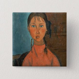 Girl with Pigtails, c.1918 (oil on canvas) 15 Cm Square Badge