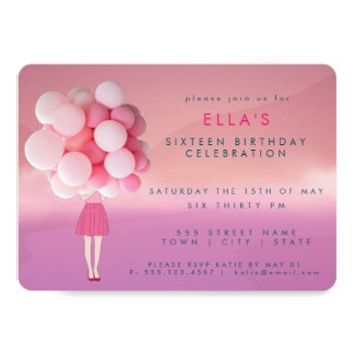 Girl with Pink Balloons | Party Invitation