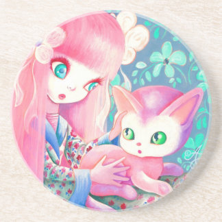Girl With Pink Hair in Kimono With Kawaii Cat Drink Coaster