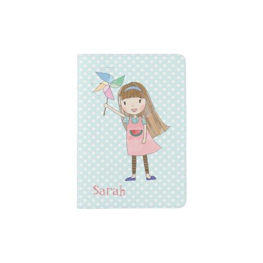 Girl with Pinwheel Personalised Passport Holder
