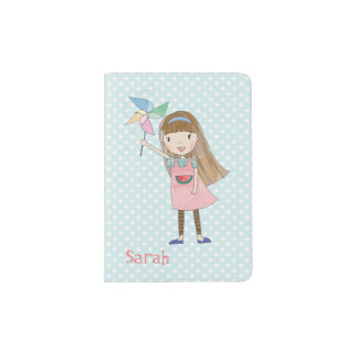 Girl with Pinwheel Personalized Passport Holder