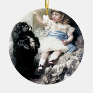 Girl with Poodle Dog Pet painting Christmas Ornament
