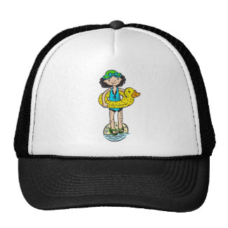 Girl with Pool Toy Trucker Hat