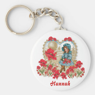Girl with Poppies Key Ring