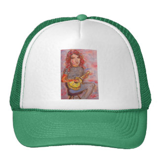 girl with red hair and ukulele mesh hat