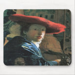 Girl with red hat by Johannes Vermeer Mouse Mats