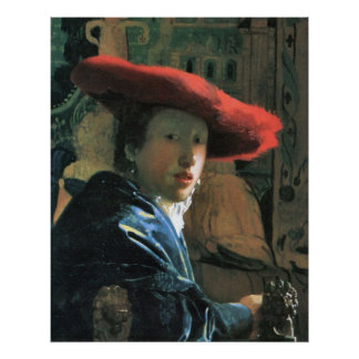 Girl with red hat by Johannes Vermeer Print