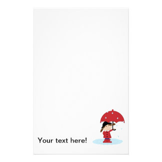 Girl with red umbrella cartoon custom stationery
