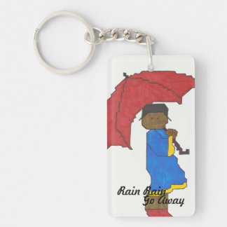 Girl with Red Umbrella Keychain