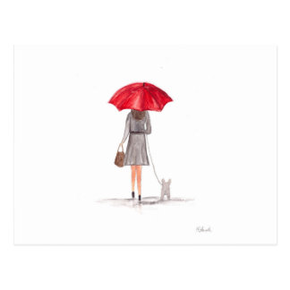 Girl with red umbrella postcard