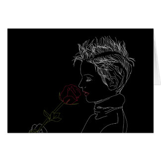 Girl with rose outlines Greeting Card