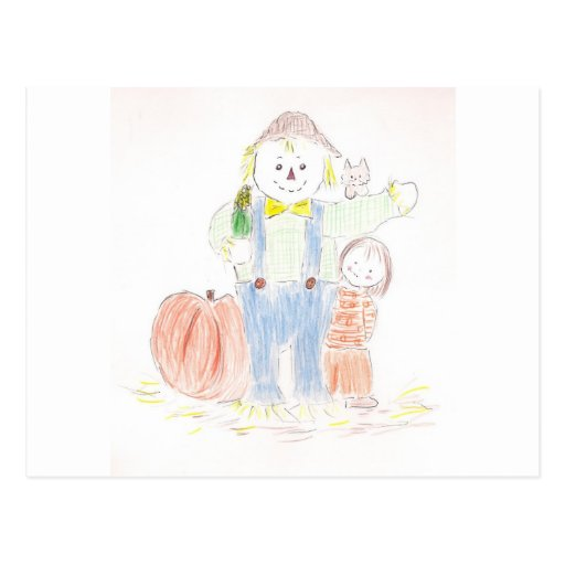 Girl with Scarecrow Post Card