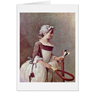 Girl With Shuttlecock By Jean-Baptiste Chardin Greeting Card
