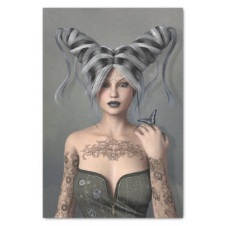 """Girl with silver and black hair,Butterfly,Tattoos 10"""" X 15"""" Tissue Paper"""