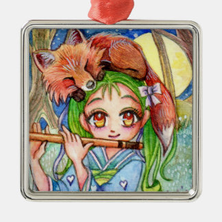 Girl with Sleepy Fox Christmas Ornament