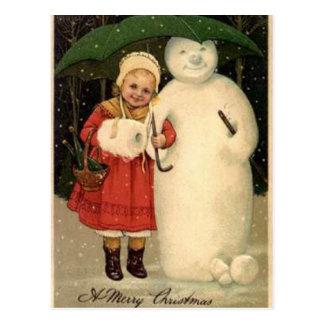Girl with Snowman Postcard