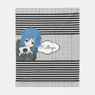 Girl with Tablet Fleece Blanket