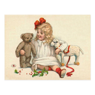 Girl with Teddy and Lamb Postcard