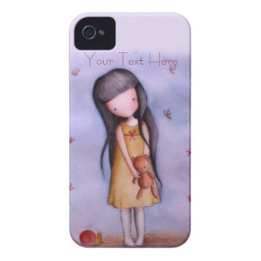 Girl with Teddy Bear Customizable iPhone 4 Case