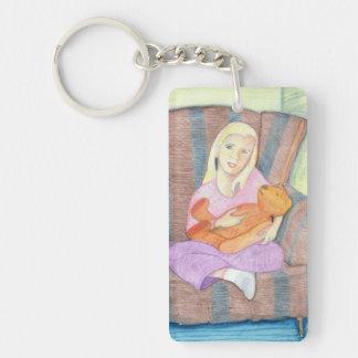 Girl with Teddy Bear Keychain - Customizable