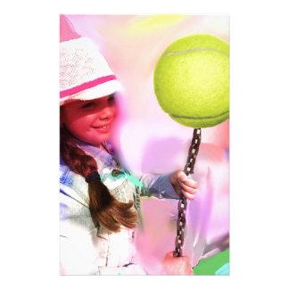 Girl with tennis ball custom stationery