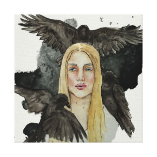Girl with the crows canvas print