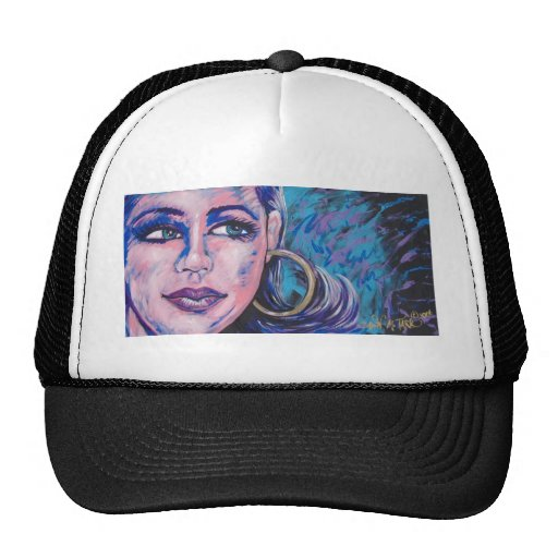 girl with the earring mesh hat